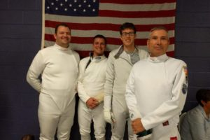 epee fencers, flag, Ben Fouty, Francis Cicchini, Lars Hansen, Kevin DiCassio, UNC, NCFDP