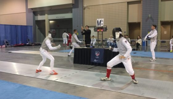 Gabriel Guevarra on strip at Richmond NAC, foil bout