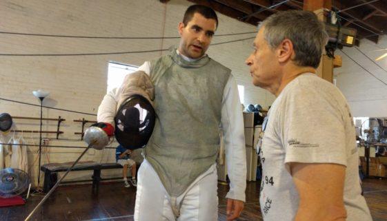 Coach John Page, foil fencing bout