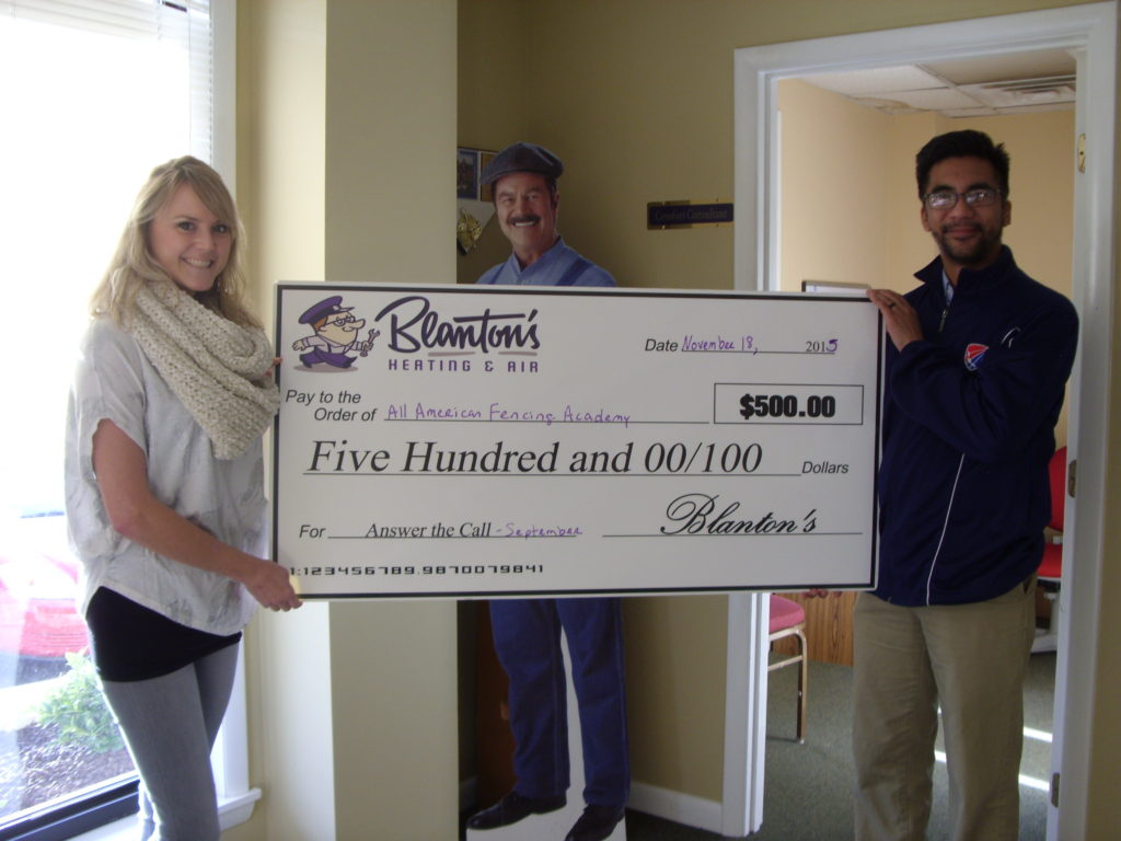 Awarded the Answer The Call from Blanton's Heating & A/C Grant