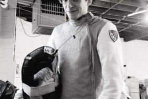Victor Gomez, foil fencer, black and white
