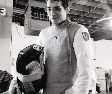 Victor Gomez, foil fencer, black and white