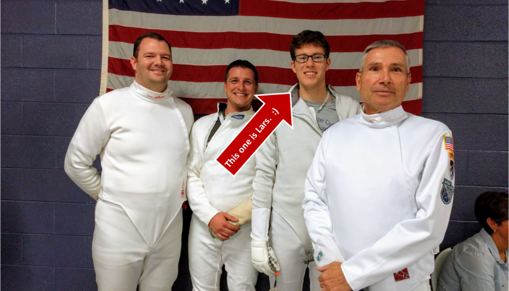 epee fencers, pointing to Lars, UNC