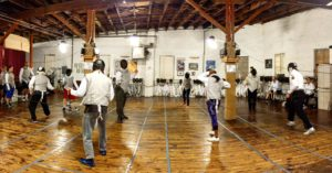 fencing class, fencing room, panorama