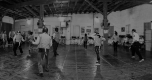fencing class, fencing room, black and white