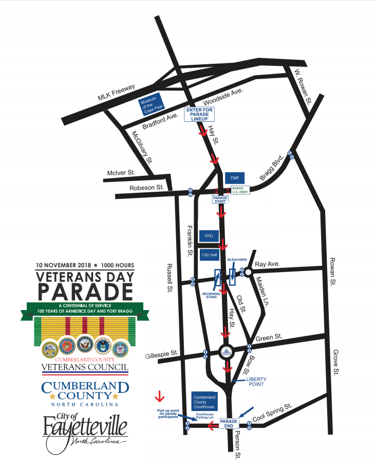 2018 Veteran's Day Parade Map