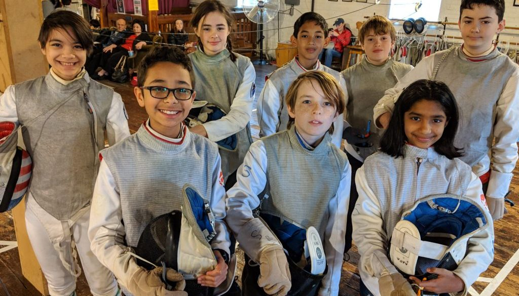 Youth fencing group picture tournament