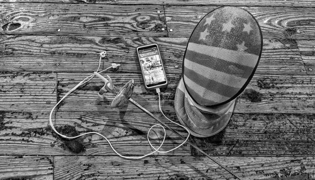 mask phone and earphones contact